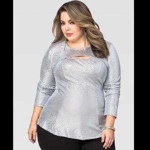 Ashley Stewart Metalic Silver Fit&Flair Cutout Top